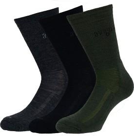 Bild på Avignon Terry Ull -merinovillasukat, 3 paria, musta, harmaa, vihreä