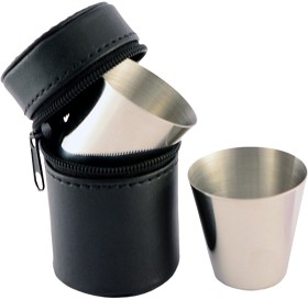 Bild på Stabilotherm-shottilasit nahkakotelossa, 4 cl, 4 kpl
